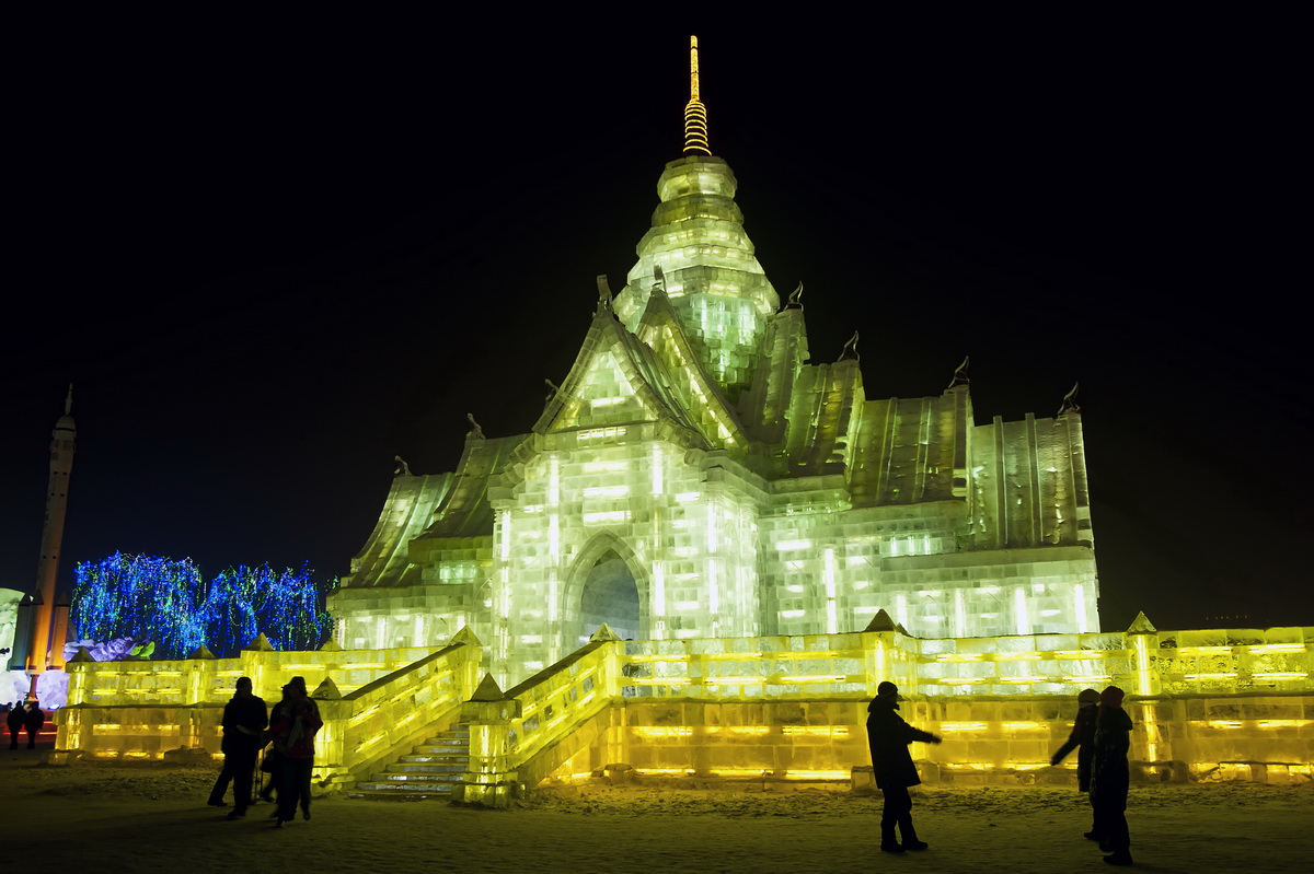 Yet another incredible ice building at the Harbin's Ice and Snow Festival