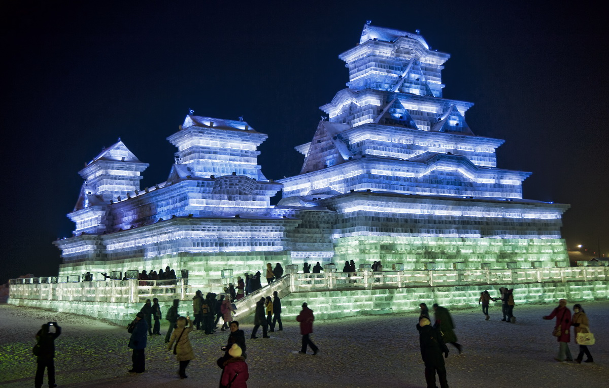 Another incredible ice building at the Harbin's Ice and Snow Festival