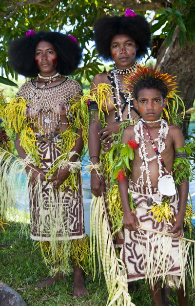 Facial tattoos of Oro Province - Young Koje Villagers