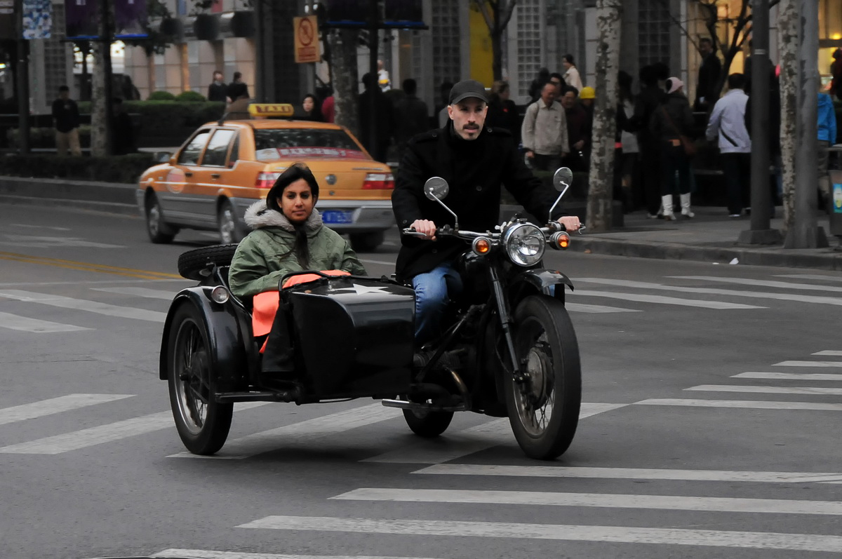 HCM Trail on the Russian Ural - A Chang Jiang CJ750 sidecar outfit in downtown Shanghai