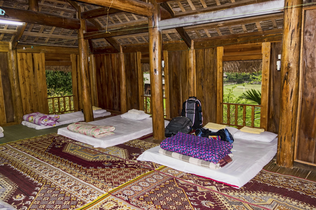 Stilt houses of Mai Chau - The sleeping area in the Mai Chau stilt house