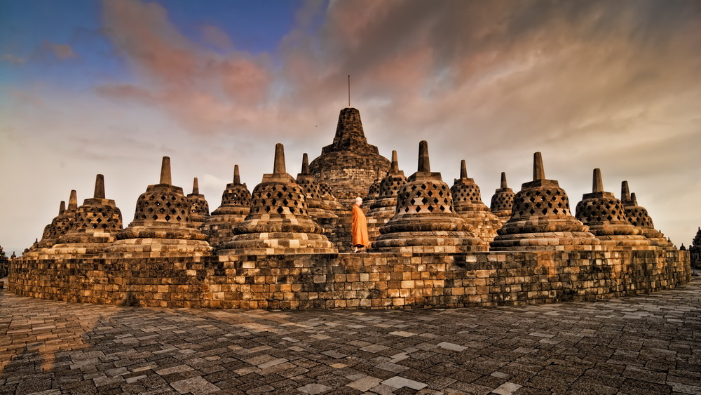The central dome of the Borobudur temple just after dawn