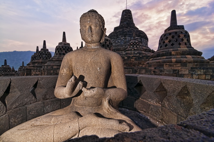The open stupa and Buddha statue at Borobudur