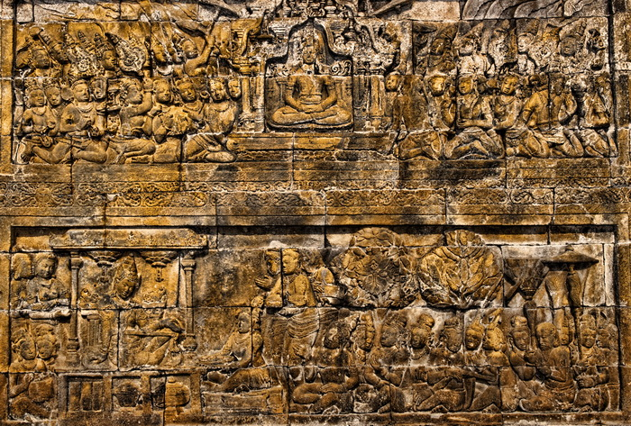 Sculpted panels at Borobudur