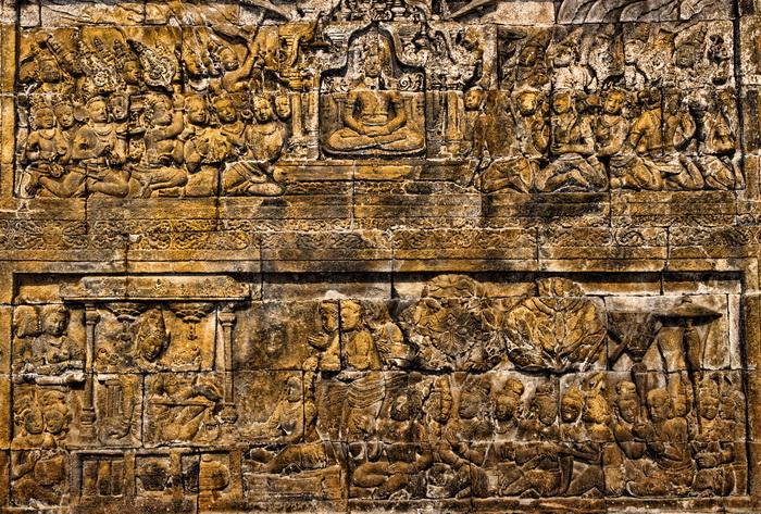 Sculpted panels at Borobudur