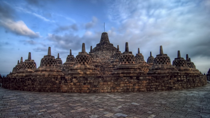 The Central Dome and Stupas at Borobudur - HDR Image